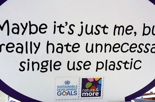 Schild auf der Messe: Maybe it´s just me, but I really hate unnecessary single use plastic
